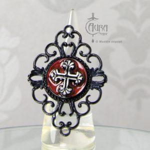 Bague gothique Toran baroque et croix en résine noire et rouge - ajustable - face