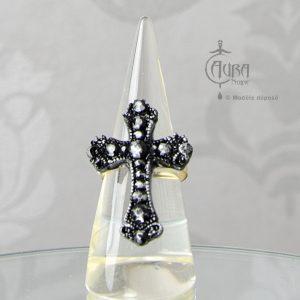 Bague gothique Llorona croix noire et argent en résine - ajustable - face