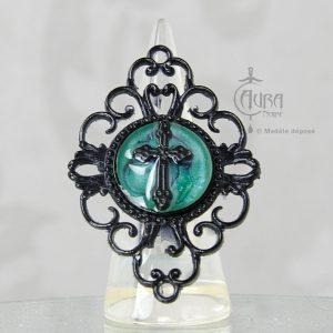 Bague gothique Toran croix turquoise en résine noire baroque - ajustable - face