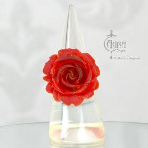 Bague rétro fleur - pin-up - rockabilly Llorona - rouge - face