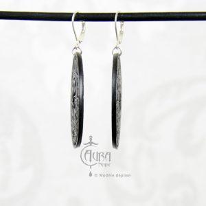 Boucles d'oreilles cercle magique occulte / gothique seih - noir - côté