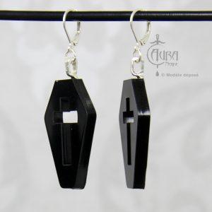 Boucles d'oreilles cercueil gothique / occulte avec croix seih - noir - côté