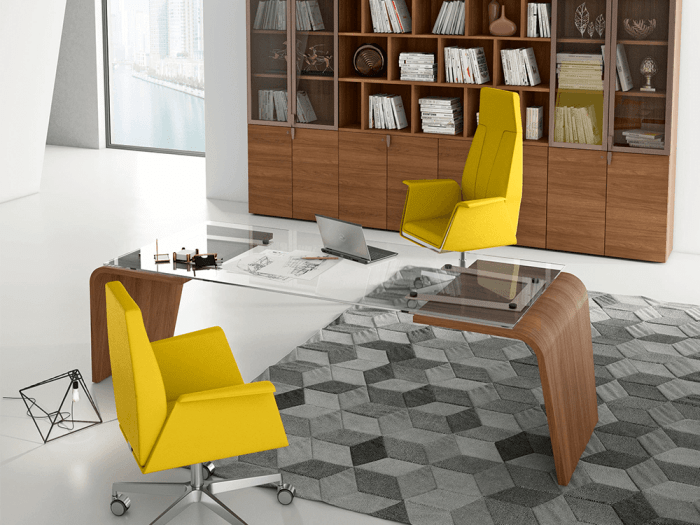 Oxford – Curved Leg Glass Executive Desk