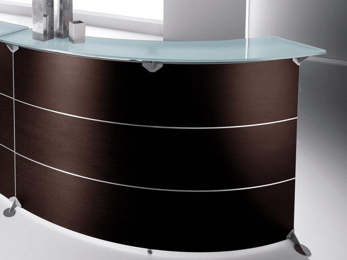 Benito 3 – Curved Glass Top Reception Desk