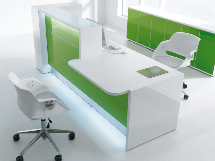 Alba 7 – Green Lacquered Reception Desk in White  with wheelchair access