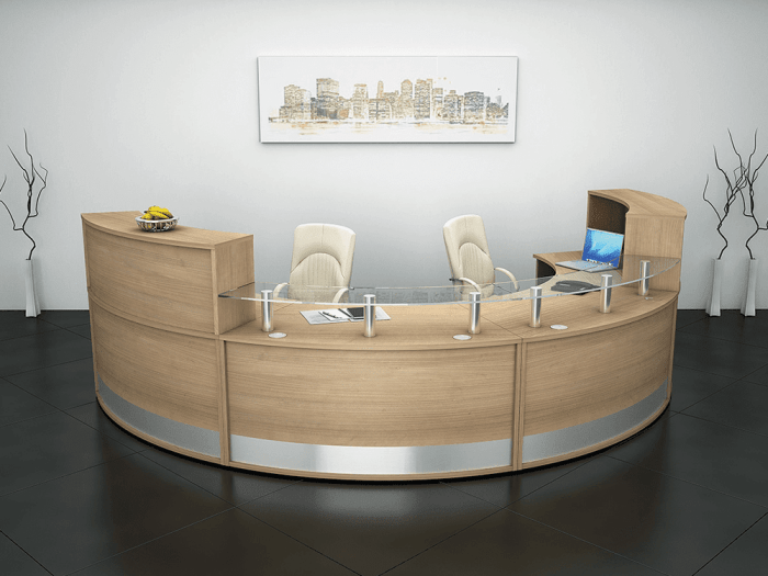 Arc 2 – Curved Reception Desk in Beech Finish