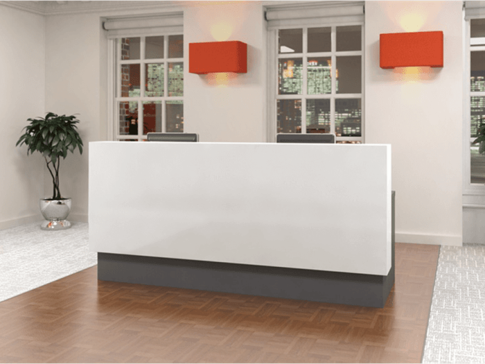 Reem – Reception Desk with wheelchair access in Premium White