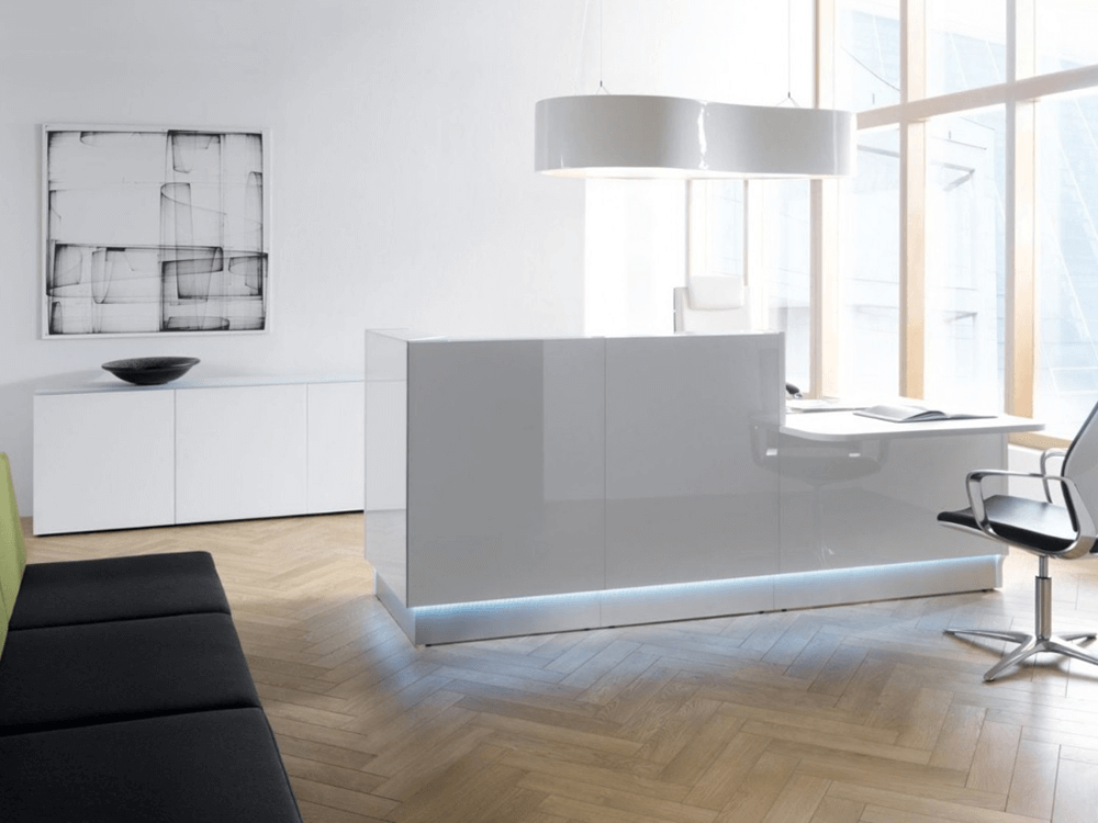 Finley – Silver Lacquered Reception Desk in Grey with Wheelchair Access