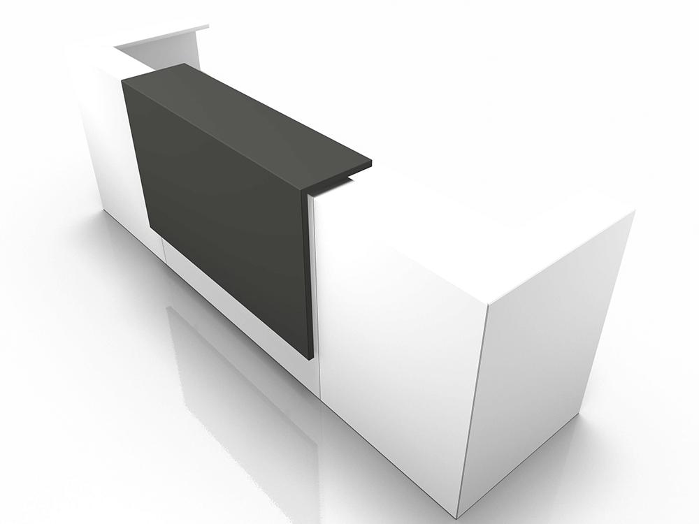 Mia 1 – Reception Desk in White with Corner Counters