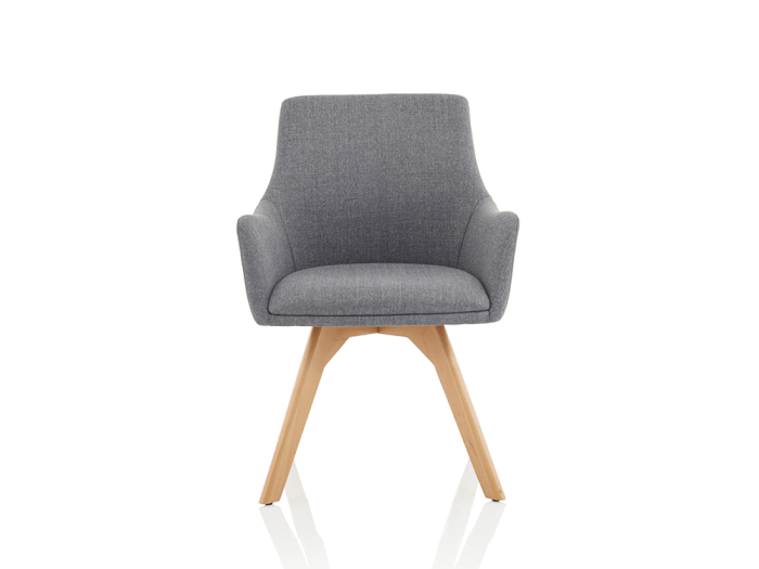 Solo – Grey Fabric Wooden Leg Armchair