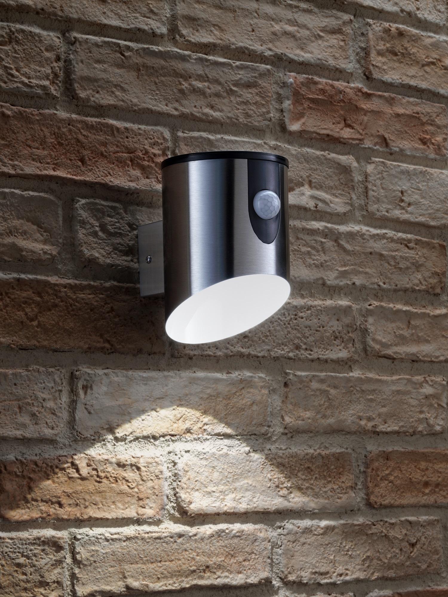 details about auraglow battery powered wireless outdoor steal pir motion sensor led wall light