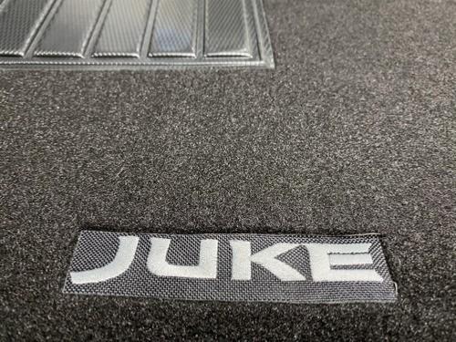 kit 4 tapis de sol auto pour nissan juke i 2010 2019 avec sigle juke moquette noire avec clips neuf