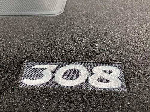 kit 4 tapis de sol auto pour peugeot 308 de 2007 a 2011 avec sigle 308 moquette noire avec clips neuf