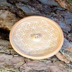 Blume des Lebens Natur - Räucherhalter aus Keramik