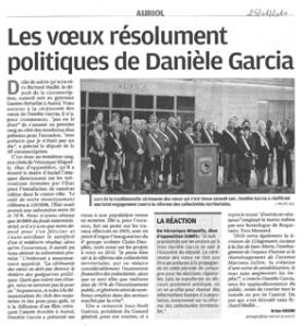 La Provence : Les voeux résolument politique de Danièle Garcia