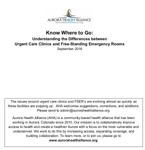 White Paper: Know Where to Go: Understanding the Differences Between Urgent Care Clinics and Free-Standing Emergency Rooms (September 2016)