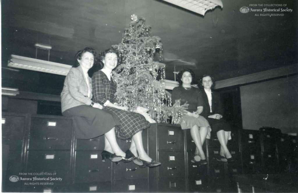 Burlington Railroad office employees Thelma Karl Evelyn Rackmyer Elnora Burkhardt Barbara Bowman December 1949