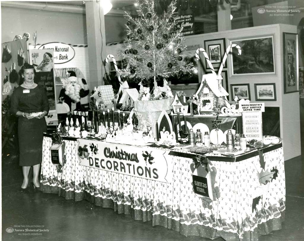 Woolworth's display at Chamber of Commerce promotion, What's New for the Holidays, November 1959 (Aurora Historical Society photo)