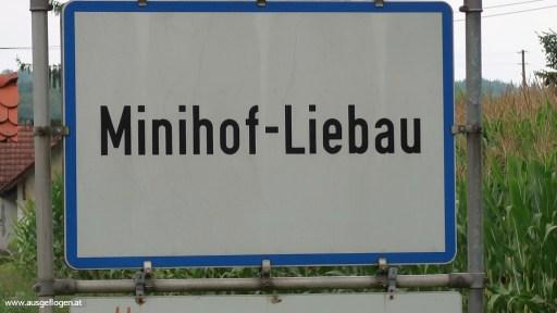 lustige Ortsschilder Österreich Minihof-Liebau im Burgenland