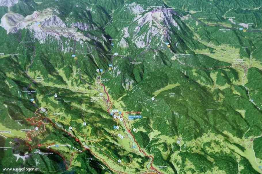 Karte Rax Schneeberg Wiener Alpen