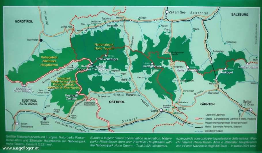Nationalpark Hohe Tauern Karte