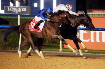 Thunder Snow and Gronkowski fight out the finish in the Group One Dubai World Cup