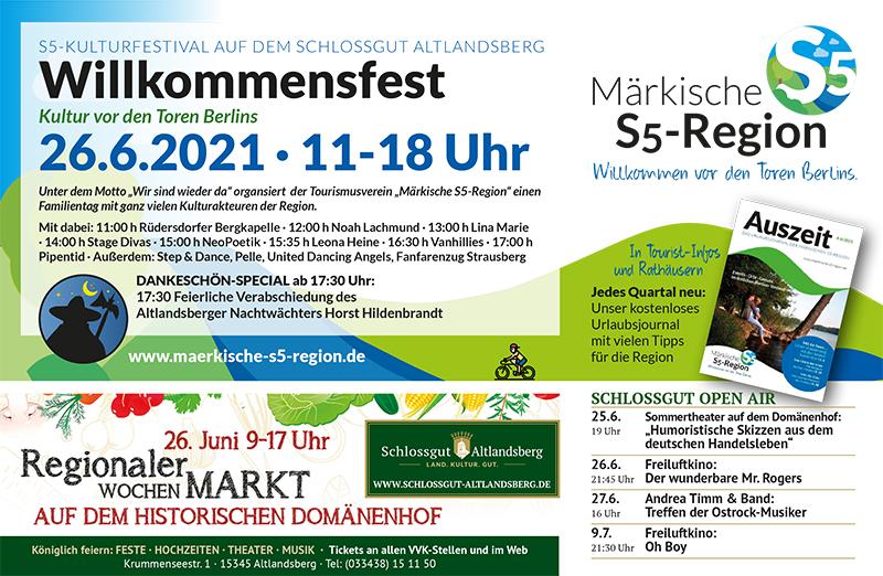 C&C HOLZMANUFAKTUR - Willkommensfest - Kulturtag der S5-Region am 26. Juni 2021 in Altlandsberg