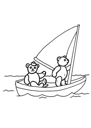 Ausmalbilder Bren Im Segelboot Spielsachen Malvorlagen