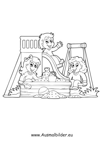 Ausmalbilder Kinder Am Spielplatz Spielsachen