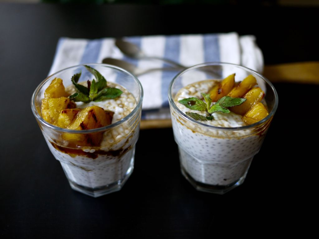 coconut chia pudding with grilled pineapple and mint simple syrup via ausplendor