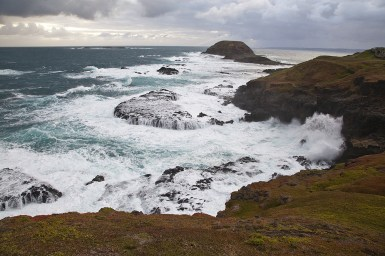 Wander the cliff top boardwalks to the blowhole