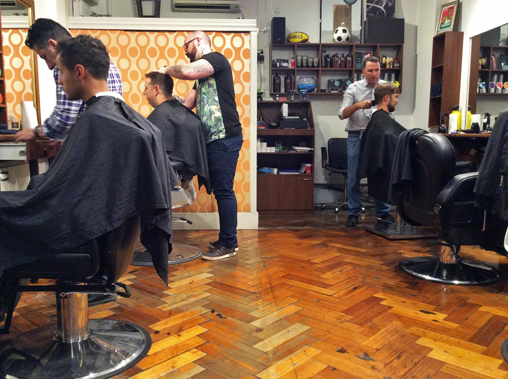 David beim Barber in Melbourne