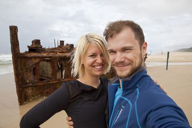 Selfie beim Maheno Schiffswrack