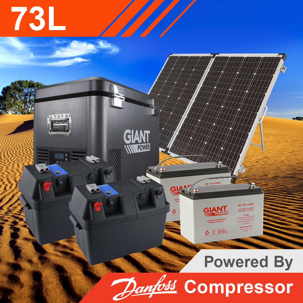 Giant Power 73l Portable Fridge Kit For Camping With