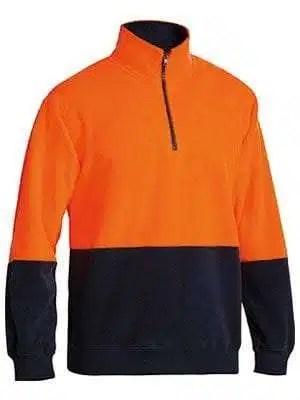 Hi Vis Polar Fleece Zip Pullover Orange Navy