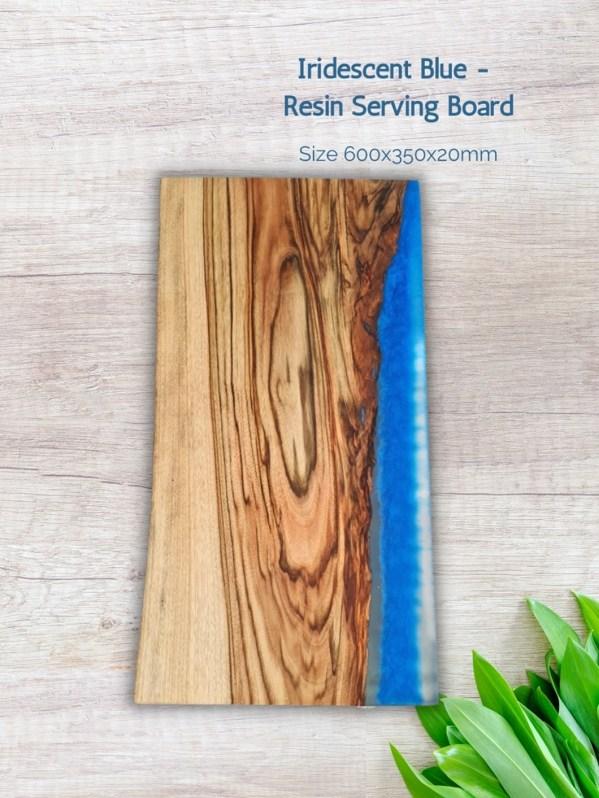 Iridescent Blue - Resin Serving Board
