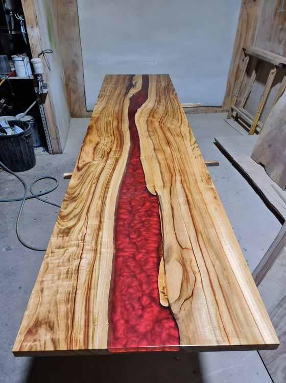 Blood red - river table top - aussie camphor