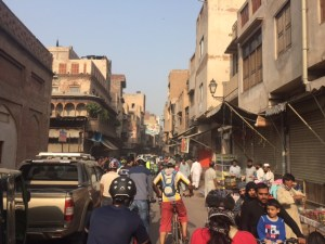 Inside the old city- not ideal riding conditions!