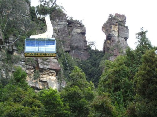 The cable car to and from Scenic World.