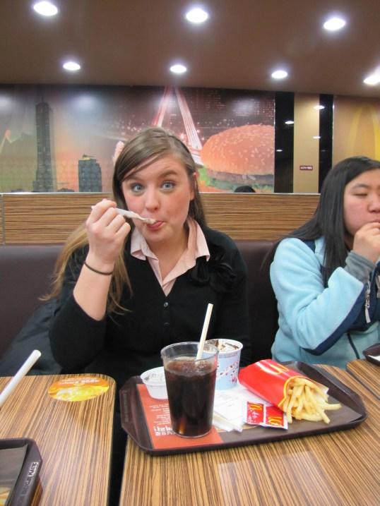 Kimberly enjoying some McDonalds in Jinhae