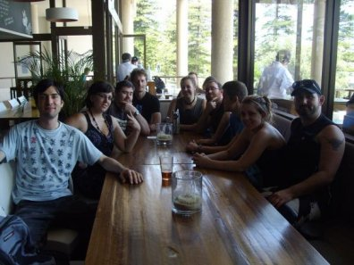 Assembled at 4 Pines Brewery for some good beer and great burgers. Photo by Brendan Brumby.
