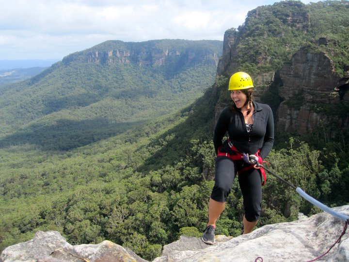 Mel abseiling at the Blue Mountains