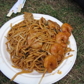 Delicious Malaysian noodles and skewer at the Sydney Night Noodle Markets