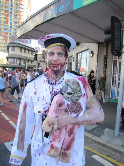 A zombie sailor with his dead baby