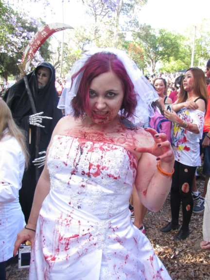 A ghastly zombie bride