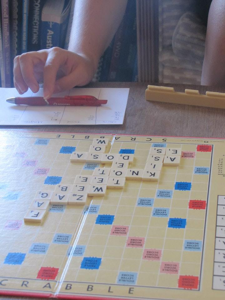 Playing Scrabble on a lazy Sunday afternoon