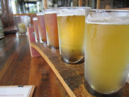 A selection of boutique beers at 4 Pines brewery