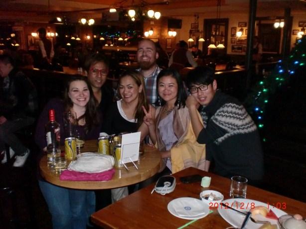 Making new friends at Paulaner Brewhaus in Nanjing