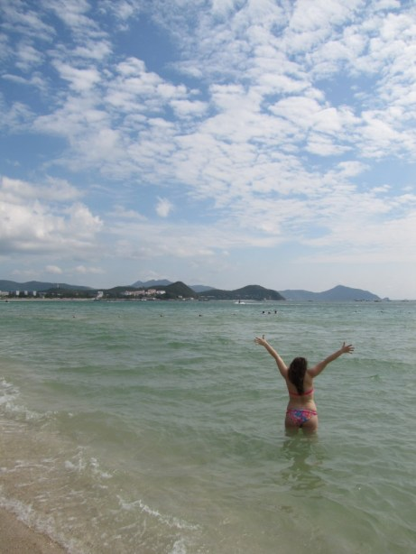 Pretty girl on Dadonghai Beach