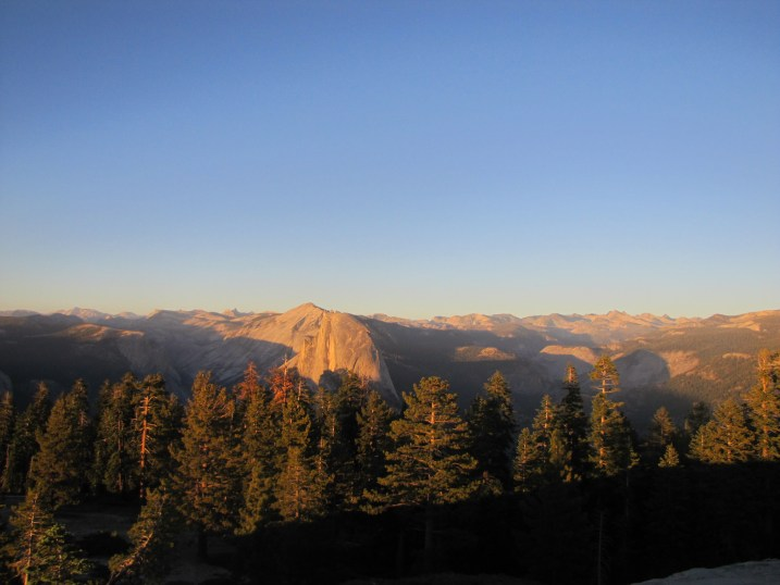 The sun sets over the Yosemite Valley